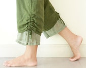 Comfy Drawstring Cotton Pants in Dark Green, M, L - oOlives