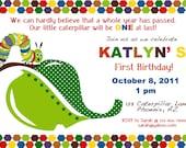 PRINTABLE Caterpillar Themed Birthday Party Invitation-DIY printable party invitations by Luv Bug Design