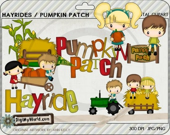 Hay Rides Pumpkin patch tractor, kids, haystack  great for cardmaking and scrapbooking colored clipart