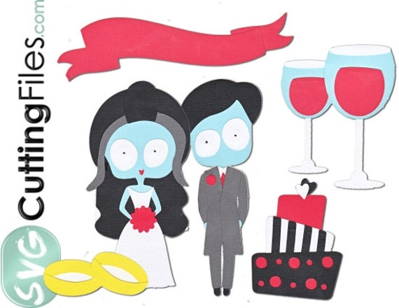 Zombie Wedding Gifts: Items Similar To Zombie Wedding, Emo, Zombies In Love SVG