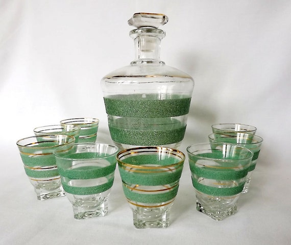 French decanter and eight glasses - water decanter with green stripes