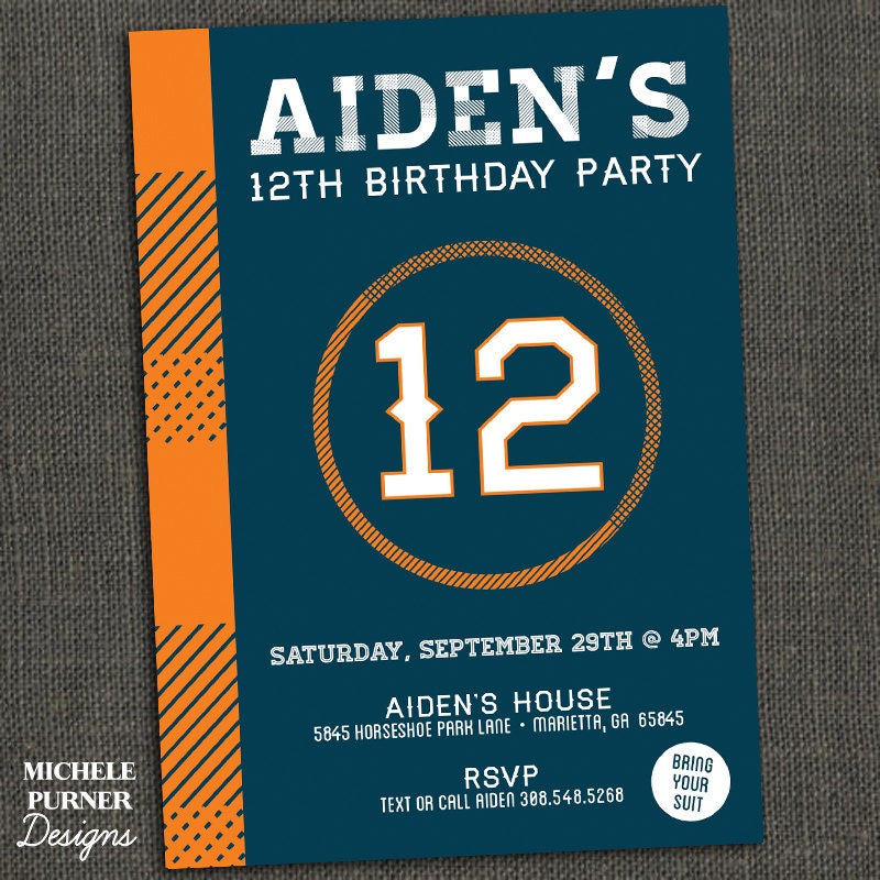 Teen Kids Boy Birthday Party Invitation
