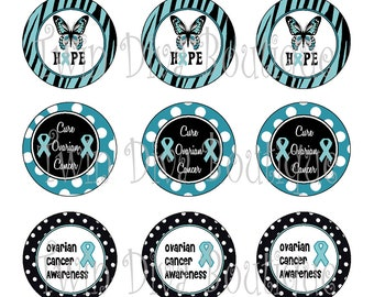 Ovarian Cancer Awareness, Teal Ribbon - great for causes and conditions that use a Teal ribbon - 1 inch image sheets for bottle caps