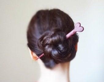 Purple heart hair stick, hair pin hair accessory shawl pin hairsticks barrette wedding bridal