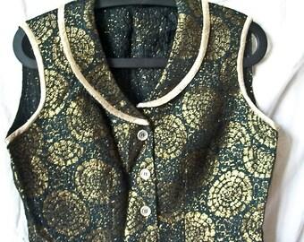 Vintage 60s brocade blouse size M