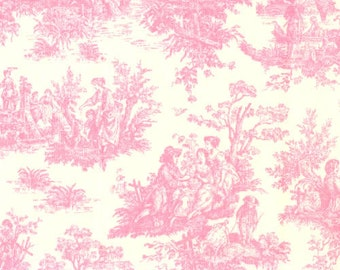 """Two  96"""" x 50""""  Custom Drapes - Rod Pocket Panels  in 100% Designer Cotton Fabric - Pink Toile"""