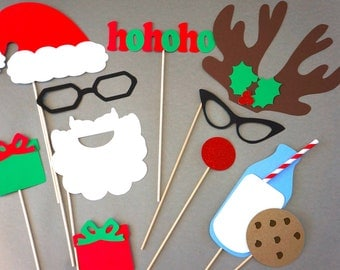 Christmas Card Props - 3D Photo Props - 11 piece set - GLITTER Photobooth Props - Santa and Rudolph - Cookies and Milk