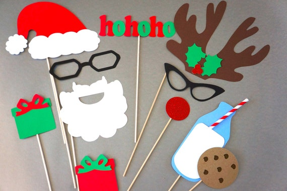 Family Christmas Photo Booth Props 3D Photo Props 11 Piece