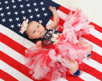 Patriotic Tutu For baby to toddler sizes Red White and Blue Dress Up Flag 3 6 9 12 18 24 mos 2T
