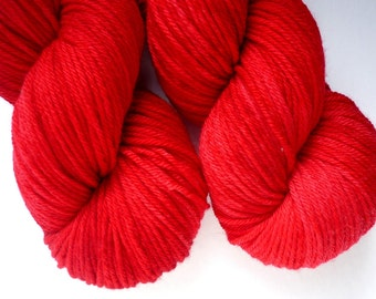 Worsted Yarn - Hand Dyed Superwash Merino Wool in Amaryllis Red Colorway