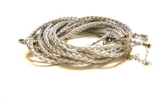 5 Silver Braided, Faux Leather,  Necklaces w/ Ends and Clasps 4mm thickness