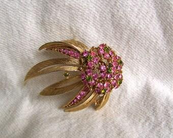 LISNER brooch rhinestone olivine and shocking pink brooch atomic floral comet star burst large