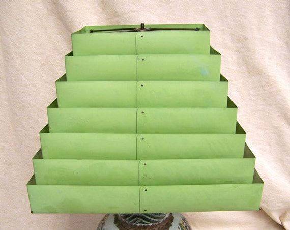 Art Deco Jadite Green Lamp Shade Venetian Blind Slats