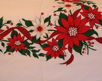 Large Vintage Rectangular Christmas Tablecloth