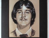 Vintage Sepia Tone Colored Pencil Illustration of the Ultimate 70s Dude