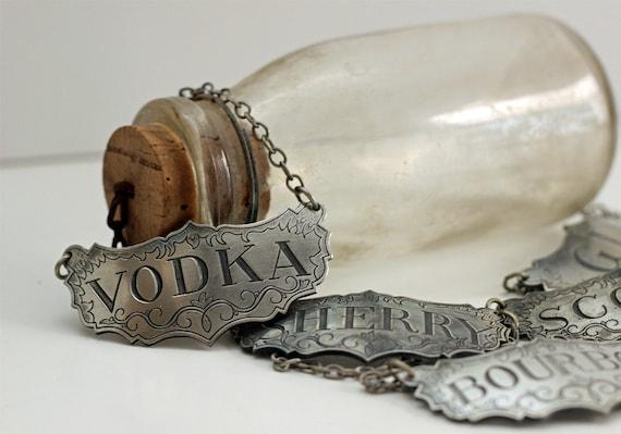 Vintage Stieff Pewter Liquor Bottle Tags Decanter Labels