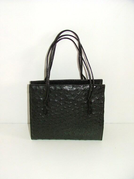 Vintage real ostrich skin leather black kelly handbag bag