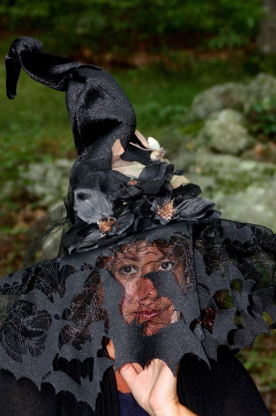 Witch Hat Black Batty Veil