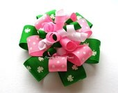 Shamrock Hair Bow - Flower Loop Korker - Pink and Green St. Patrick's Day Bow