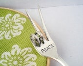 Peace Fork, Peace Sign, Hand Stamped Pickle Olive Fork, Meat Server, Fathers Day Gift, Gift for Grads, Entertaining, BBQ Utensil