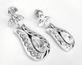 Art deco crystal rhinestone tibetan silver tulip post earrings bridal jewelry bridesmaid gifts birthday gifts