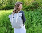 Organic Canvas Backpack - Stripes - Light Grey - Roll Top - All Organic Fabrics