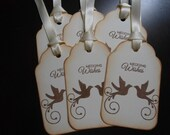 Vintage Inspired Mirrored Doves Wedding Wishes Wish Tree Tags