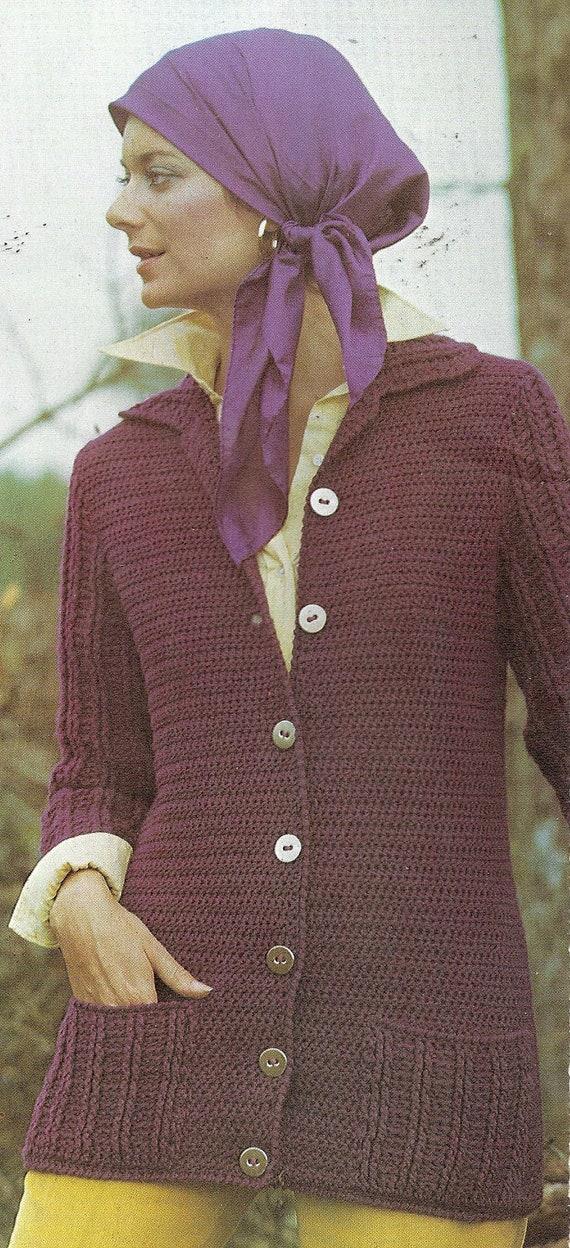 Vintage Crochet Pattern Ladies Crocheted Long Sweater Cardigan