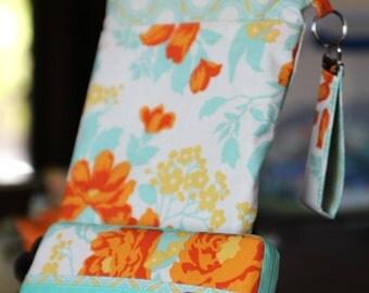 Wet Bag & Wipes Case - Mini Diaper Bag (Girl) - Orange, Yellow, Aqua, and Cream Floral
