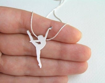 Dancer Necklace Pendant - Ballerina Necklace - Ballet Dancer Silhouette - Ballet Jewelry - Sterling Silver