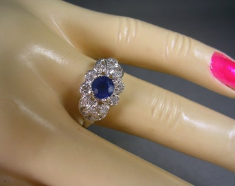 Estate Sapphire and Diamond Ring 14K White Gold .80Ctw Size 7.75 Wedding Engagement or Birthstone for September