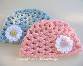 Crochet Pattern 055 - Butterfly Beanie - Toddler - Child - Teen - Adult - Lace Hat - Spring - Summer Hat - Easter - Crocheted Flower - Pink