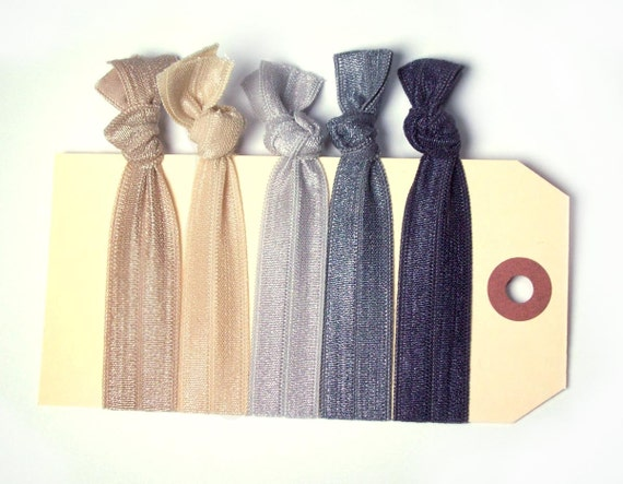 5 elastic hair ties neutrals hair accessories set of 5