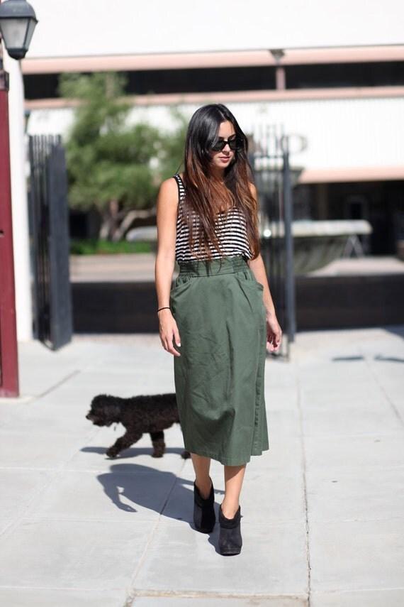 Olive Green Two Pocket Midi Skirt - Ollie