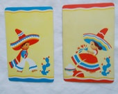 2 vintage playing card samples Boy & Girl in native dress and sombreros