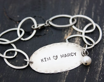 Personalized Custom Antiqued Oval Sterling Silver Mothers Bracelet Christmas