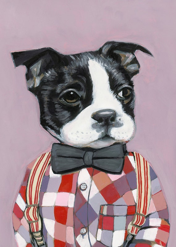 Heather Mattoon art,  Charlie -8.5 x 11 -Matte Print - Dogs In Clothes by Heather Mattoon