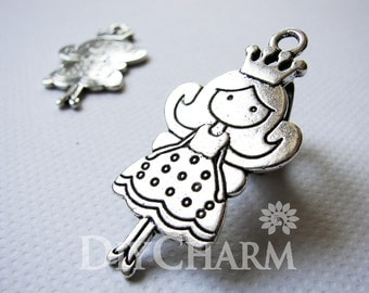 Antique Silver Lovely Princess Cartoon Girl Charms 48x25mm - 5Pcs - DF23464