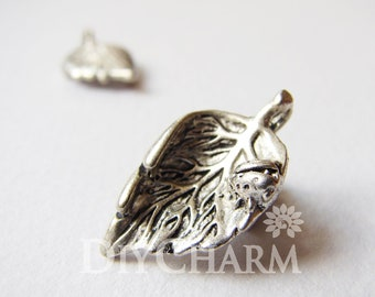 Antique Silver Tree Leaf Leaves with Beetle Ladybug Charms 24x13mm - 10Pcs - DF24381