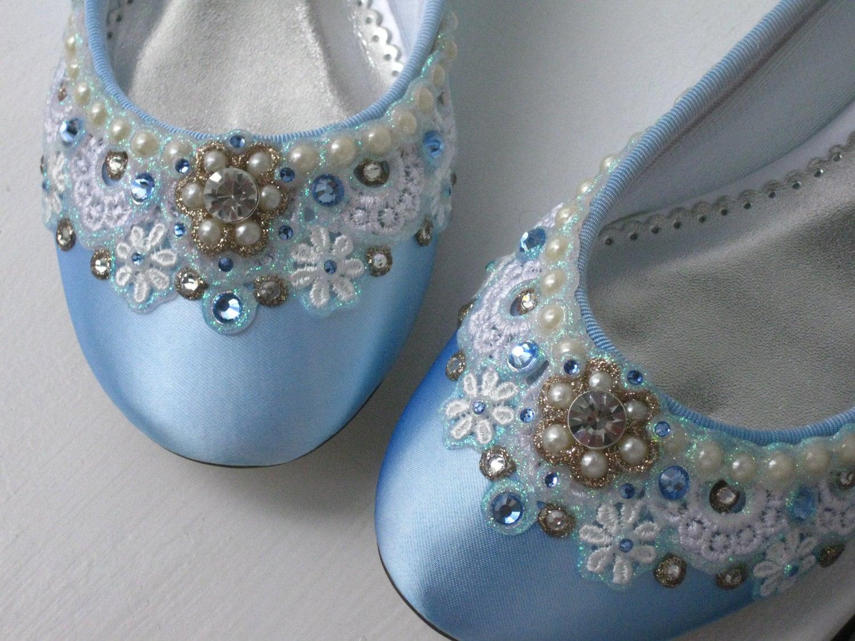 Blue Sugar Bridal Ballet Flat Wedding Shoes Any Size Pick