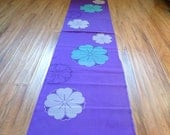Silk kimono fabric purple sakura floral