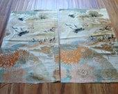 Kimono maru obi fabric crane tsuru wedding silk lot of 2