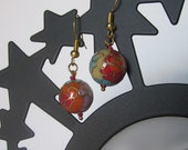 Beautiful Japanese Cloisonné Bead Earrings with Orange .White and Blue  Accents-Fashion Accessory