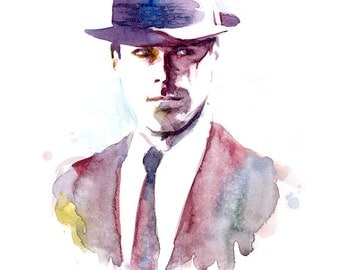 Mad Men Don Draper inspired Watercolor Painting Print  - 60s gentleman