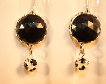 Handmade Vintage Black Swarovski Ball Drop Earrings