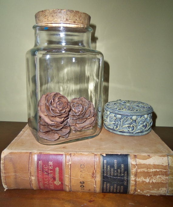 Vintage Glass Jars with Cork Stoppers Pair of Canisters