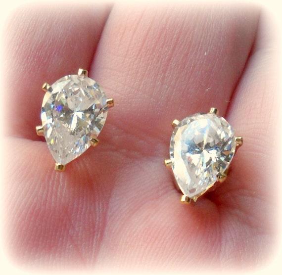 cz gold earrings, vintage bridal, pear shape, 6carats, designer couture faux diamond, early 80's, sale