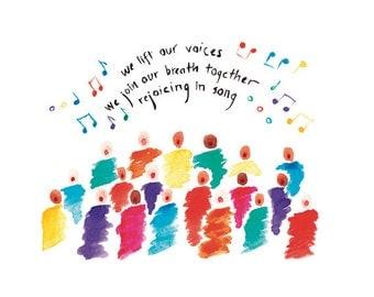 01-106. joyful choir print with haiku - 8x10