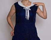 Cute classic nautical inspired navy blue and white polka dot sheath dress - Medium-Large