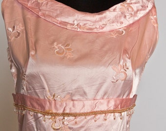 Classic pink satin cocktail dress with plastic bead details - Small or medium